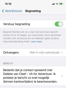 Whatsapp for Business - begroeting