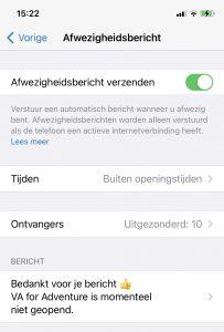 Whatsapp for business - afwezigheidsbericht