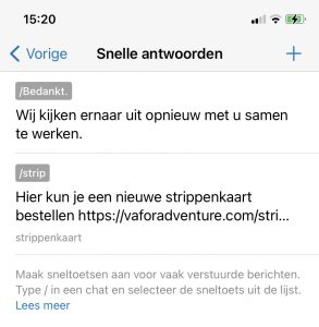 Whatsapp for business - snel antwoord